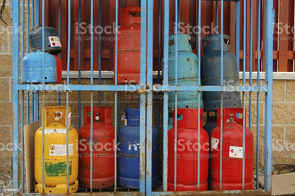 Secured bottles of natural gas stock photo