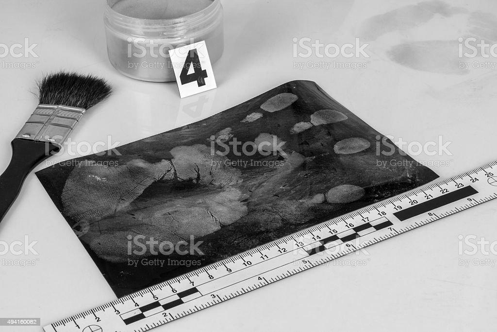 Secured fingerprint marks. stock photo