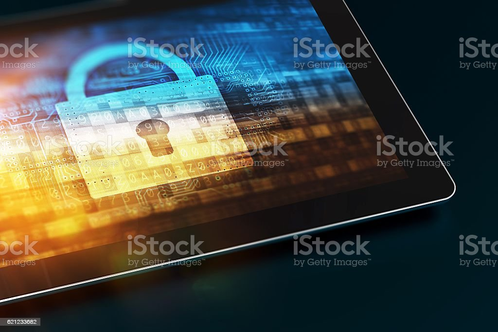 Secured Mobile Device stock photo