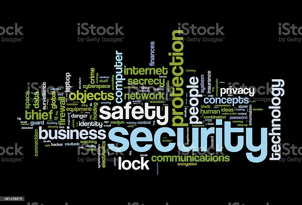 securety safety word cloud vector art illustration
