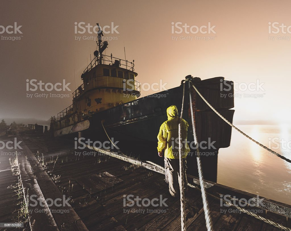 Securing Mooring Lines stock photo