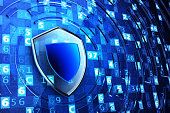 Securing, network firewall, computer data protection and information security concept