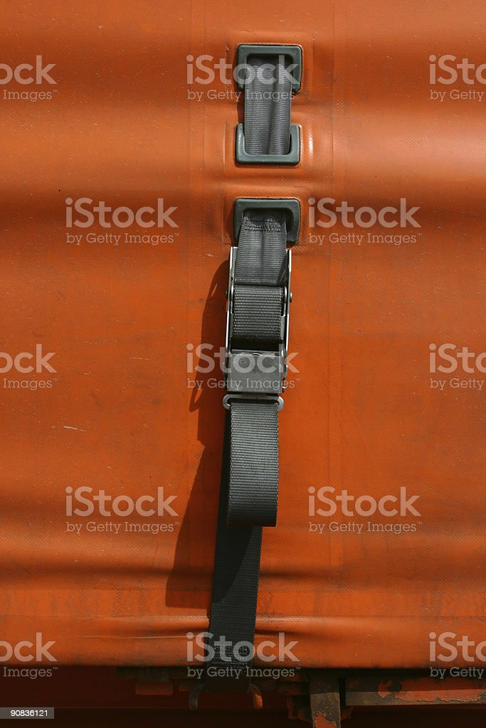 securing strap for trailer cover on lorry stock photo
