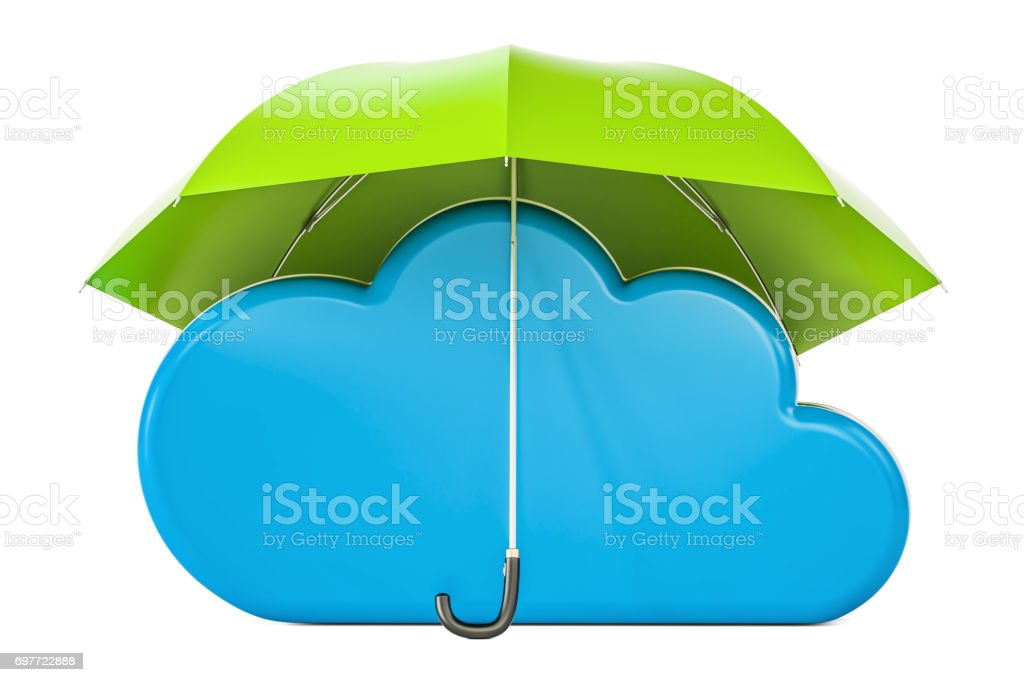 Security and protection concept, computing cloud under umbrella. 3D rendering stock photo