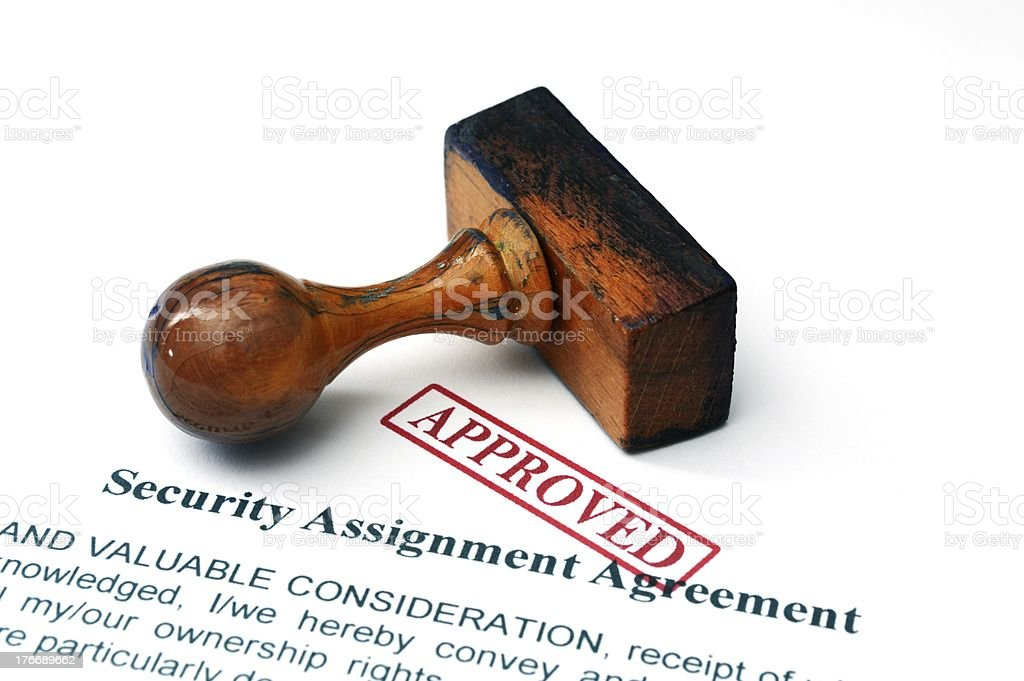 Security assignment agreement royalty-free stock photo