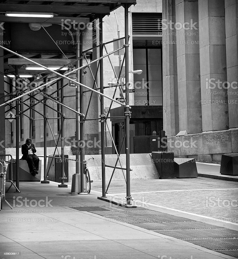 Security barrier, Manhattan Financial District, New York City royalty-free stock photo