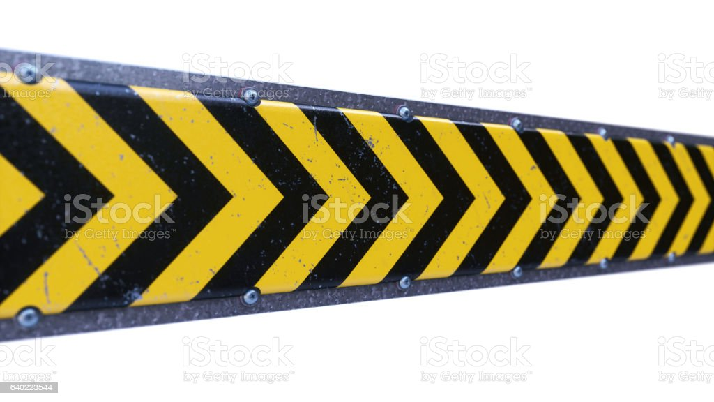 Security Barrier With Danger Stripes Isolated on White stock photo