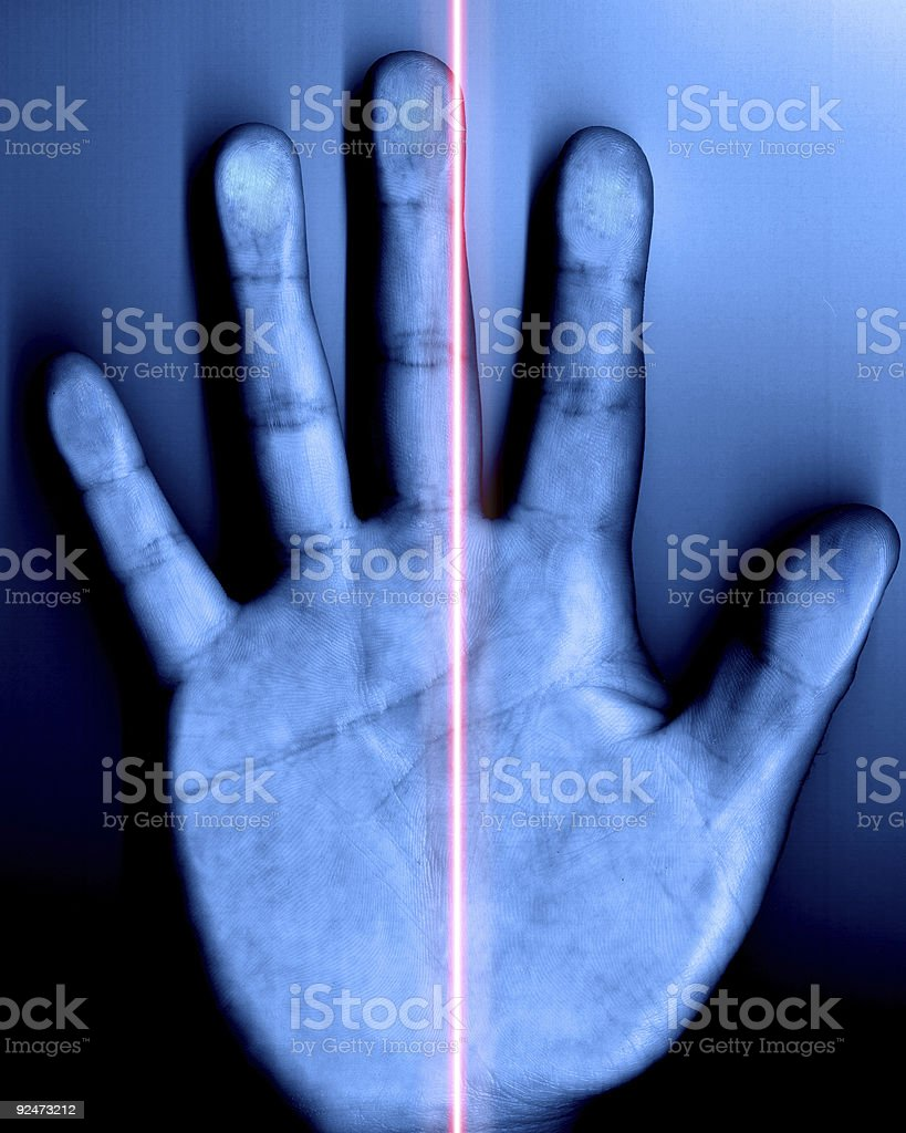 Security Breach - Hand Scanner With Red Laser royalty-free stock photo