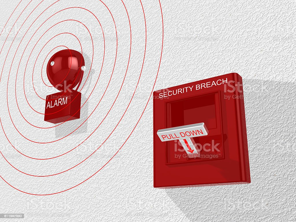 Security breach switch activated sounding an alarm stock photo