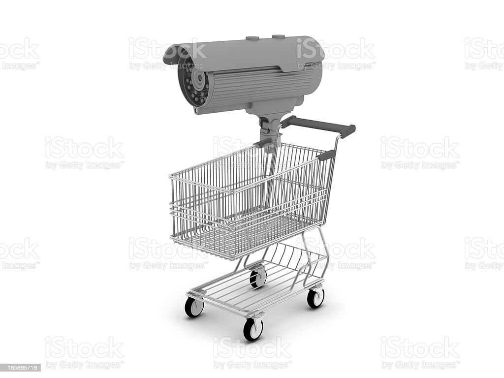 Security cam and shopping cart royalty-free stock photo