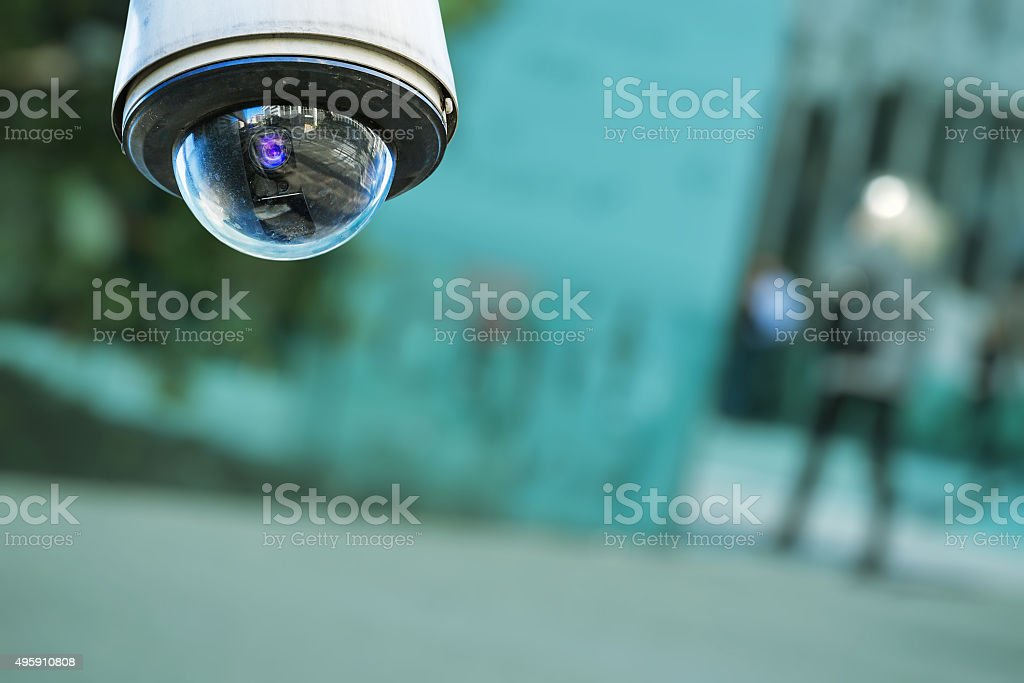 security camera and urban video stock photo