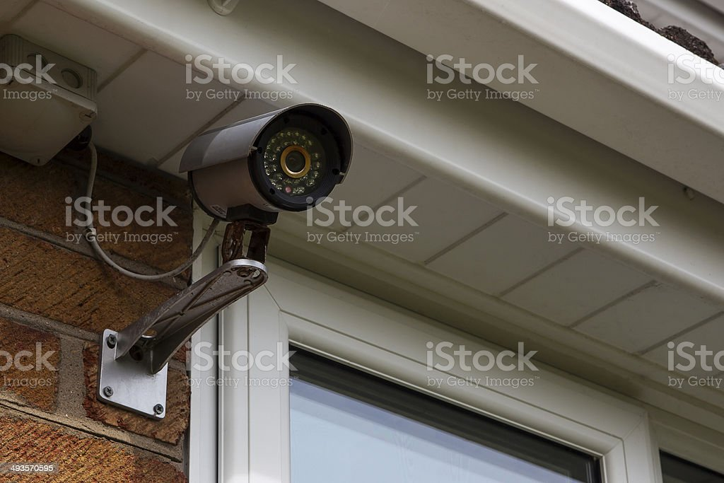 CCTV security camera for home protection & surveillance. stock photo