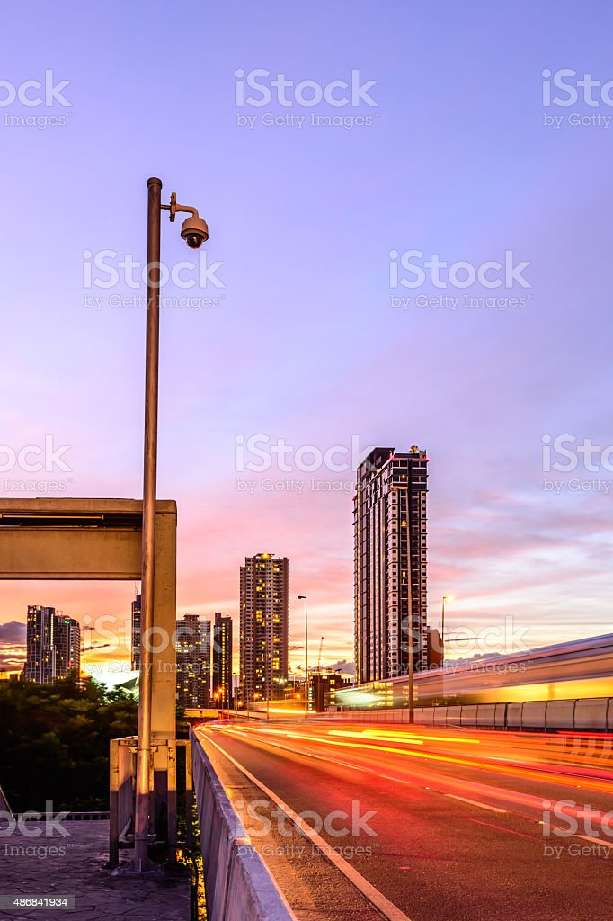 Security camera for monitor expressway traffic in Bangkok city. stock photo