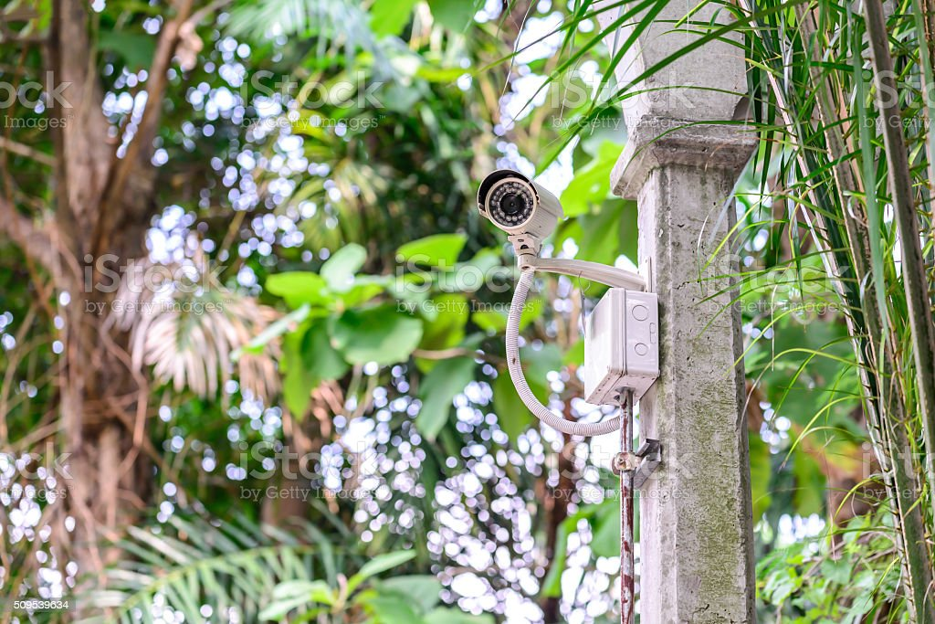Security camera for monitoring travel place. stock photo