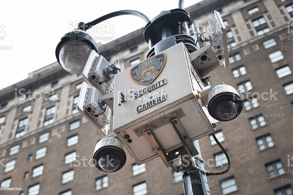 NYPD security camera in Manhattan stock photo