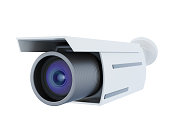 Security camera isolated on white background. 3d rendering