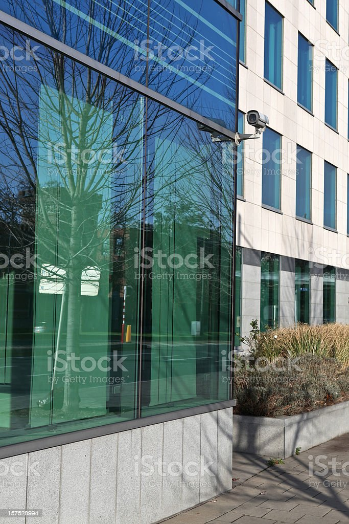 Security camera on a corporate building Brussels Belgium royalty-free stock photo