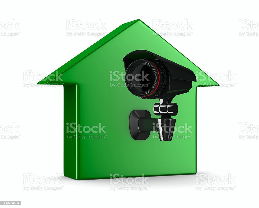 security camera on house. Isolated 3D image stock photo