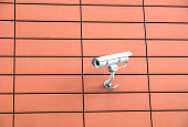 Security camera on orange wall
