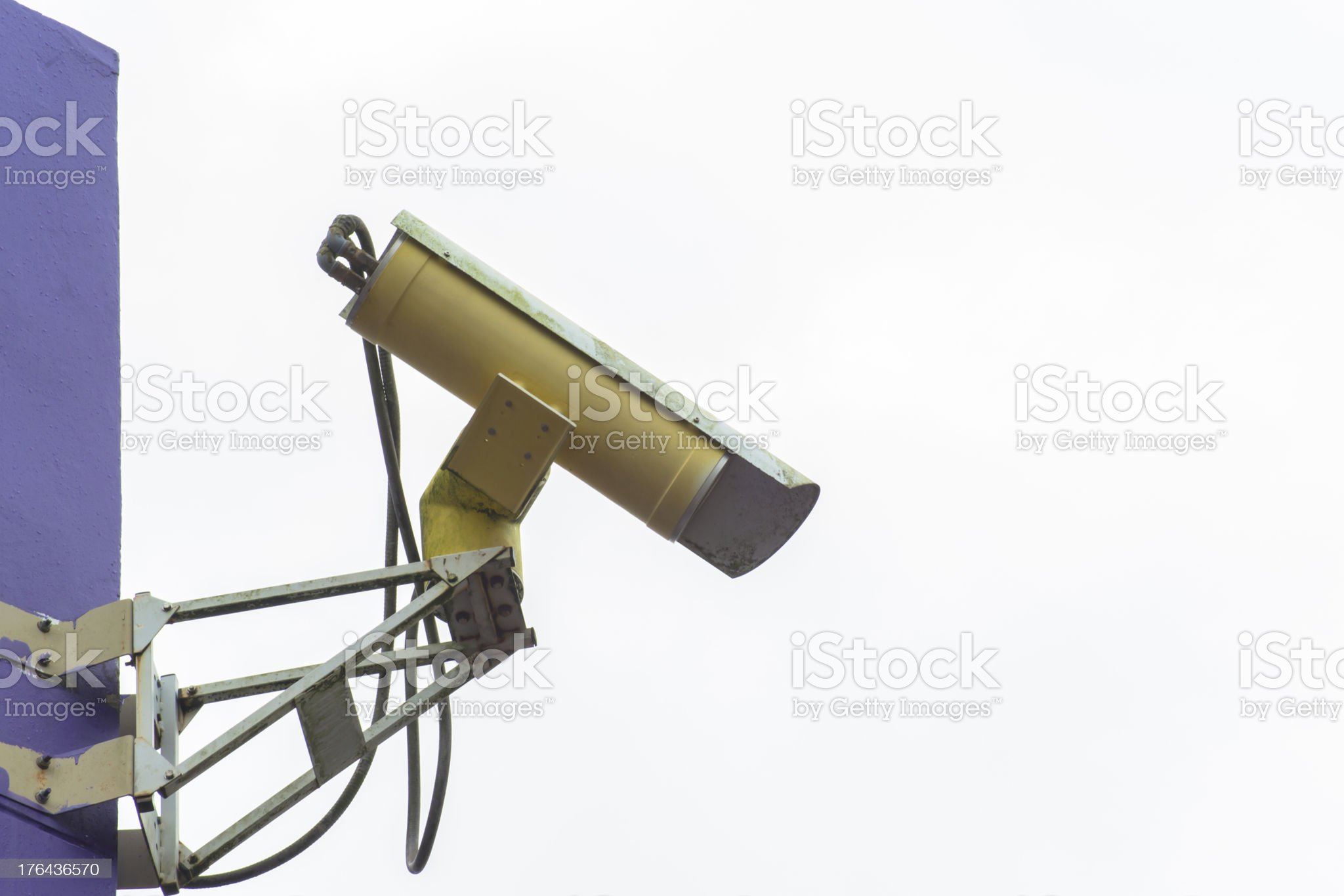 Security camera side view on wall royalty-free stock photo