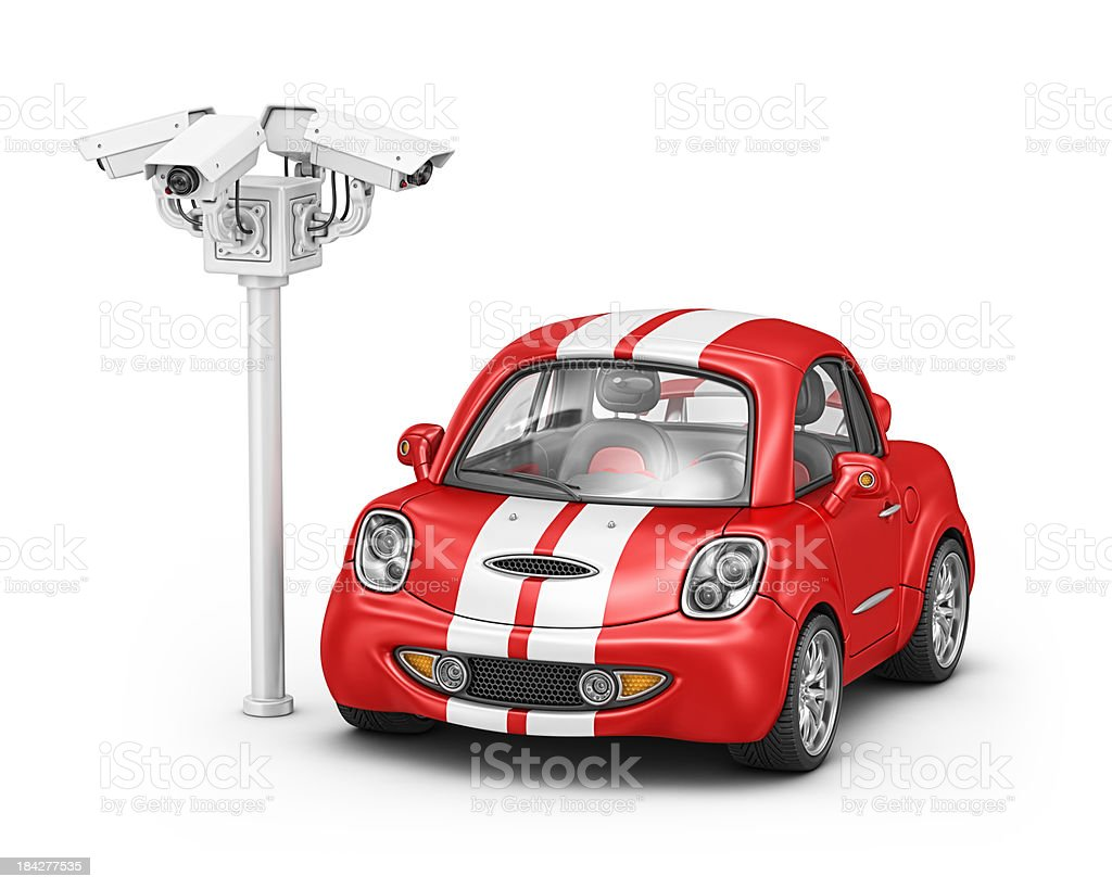 security cameras and sport car royalty-free stock photo