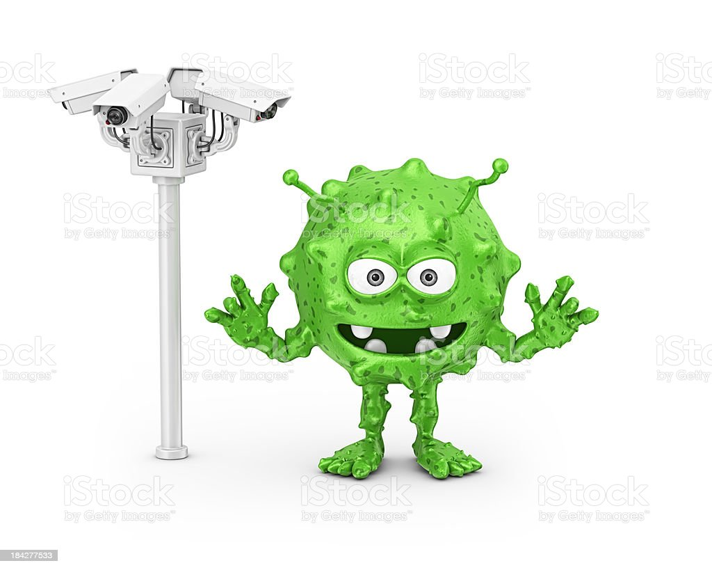 security cameras and virus royalty-free stock photo