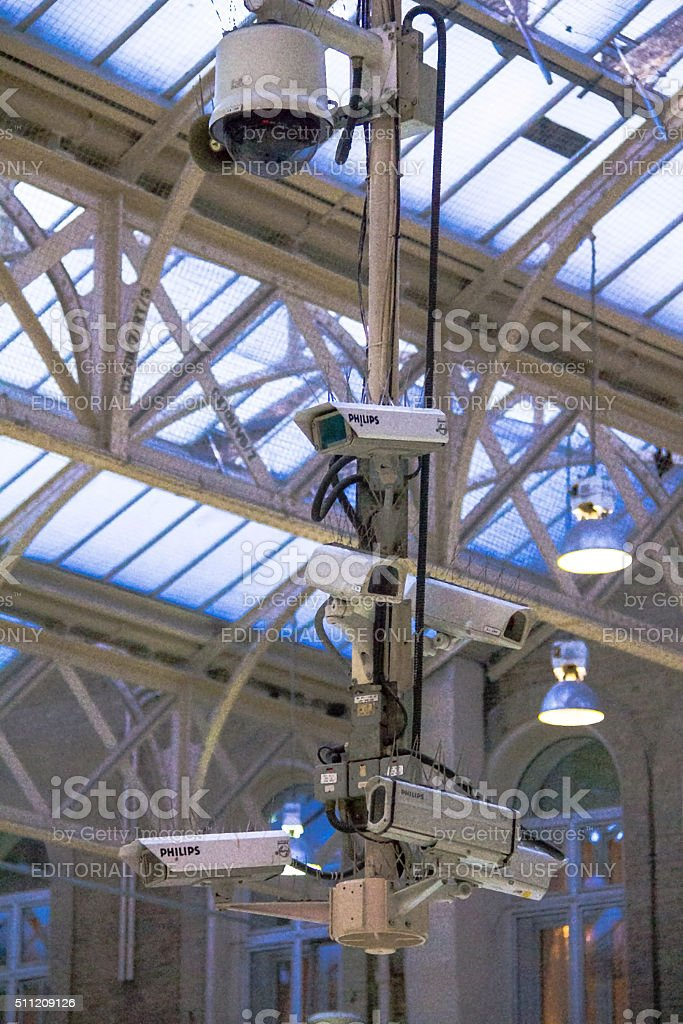 Security cameras at Charing Cross railway station. London, UK stock photo