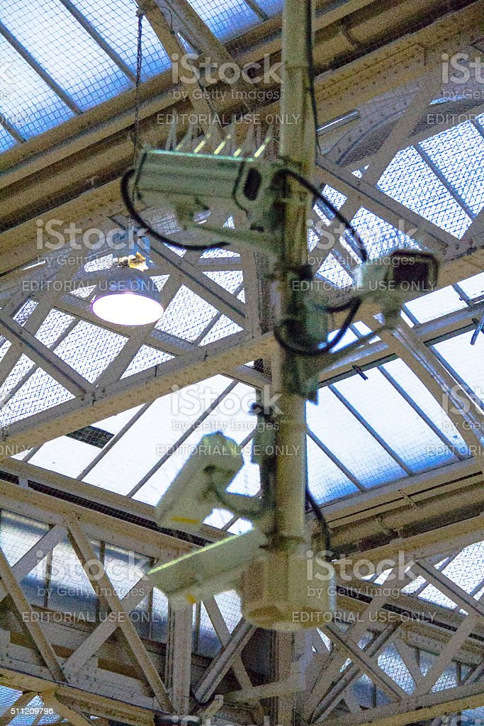 Security cameras at Charing Cross railway station stock photo