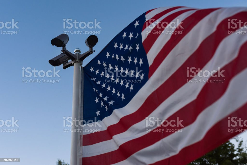USA security cameras guarding among the free spirit of democracy stock photo