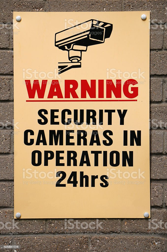 Security Cameras in operation sign stock photo