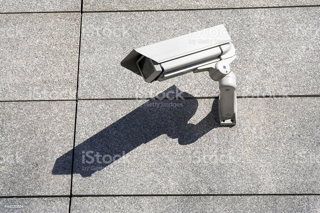 Security cameras on the stone wall royalty-free stock photo