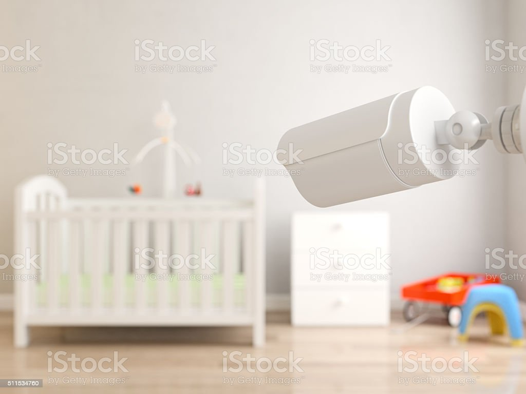 Security cameras watching crib stock photo