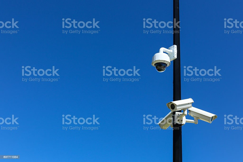 Security Cameras with Blue Sky stock photo