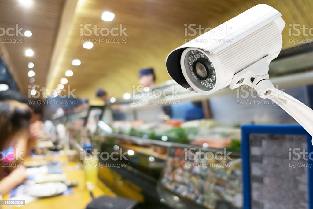 Security CCTV camera in japanese restaurant stock photo
