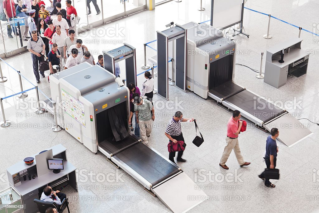 Security check at Guangzhou South Railway Station stock photo