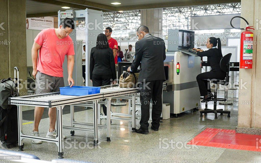 Security checks at Brasilia Airport, Brazil stock photo