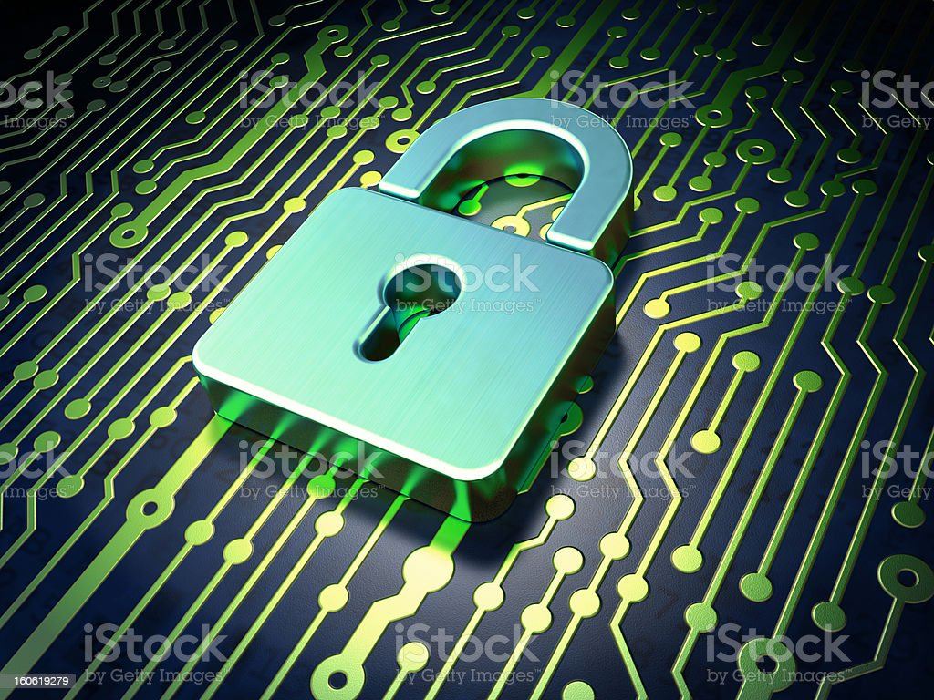 Security concept: circuit board with closed padlock icon royalty-free stock photo