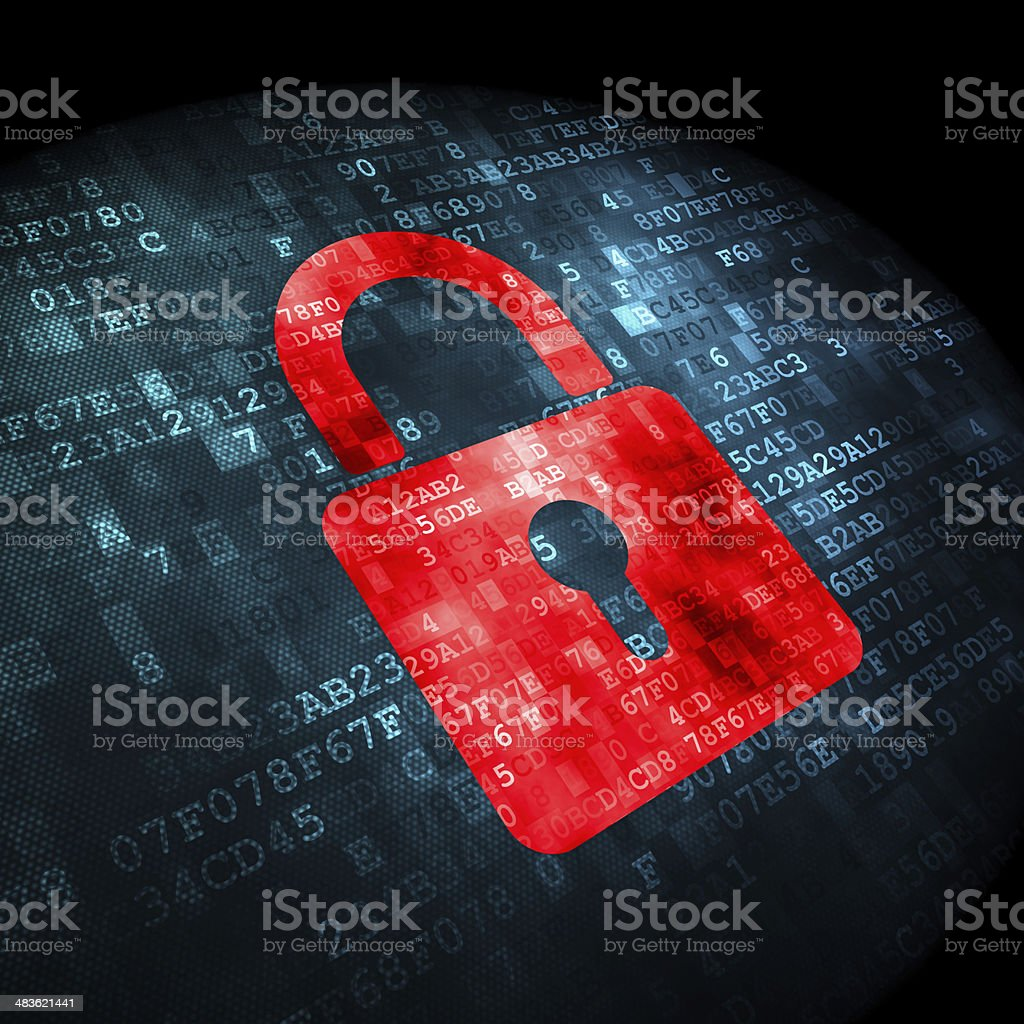 Security concept: Closed Padlock on digital background stock photo