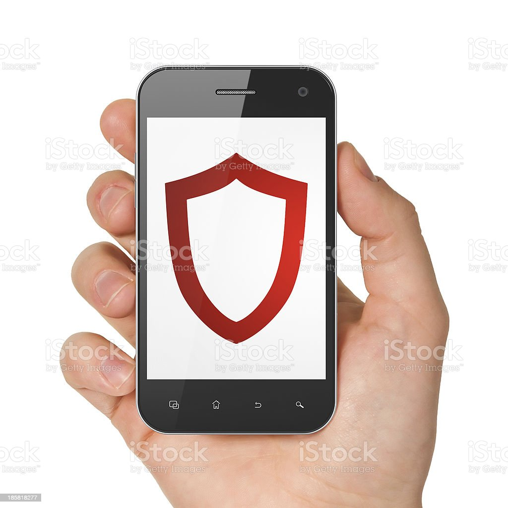 Security concept: Contoured Shield on smartphone royalty-free stock photo