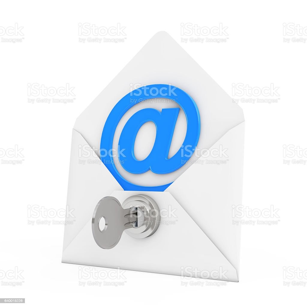 Security Concept. E-mail Sign in Envelope with Key and Keylock. stock photo