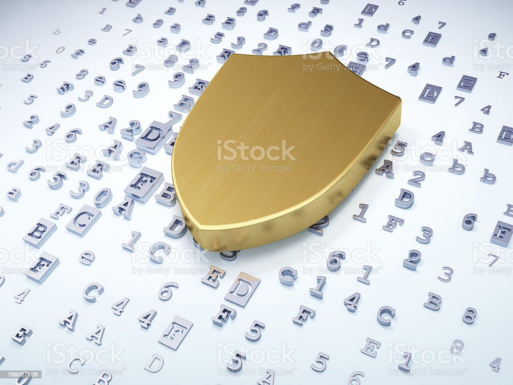Security concept: golden shield on digital background royalty-free stock photo