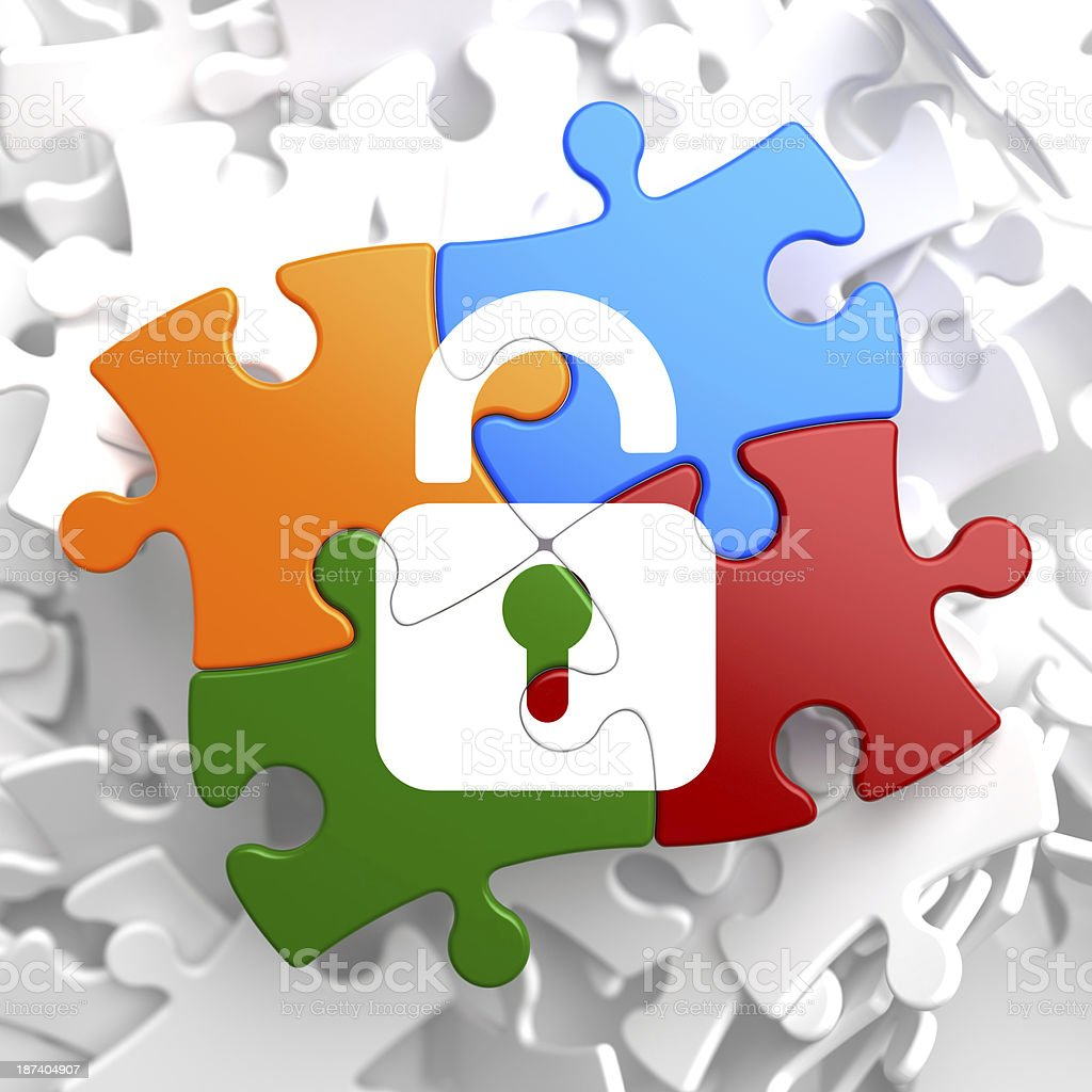 Security Concept on Multicolor Puzzle. royalty-free stock photo
