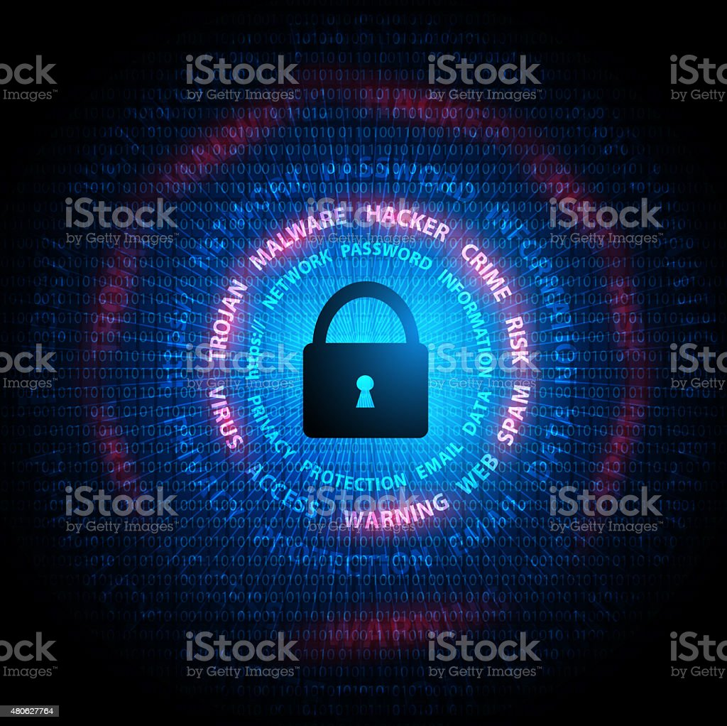 Security concept on digital screen vector art illustration