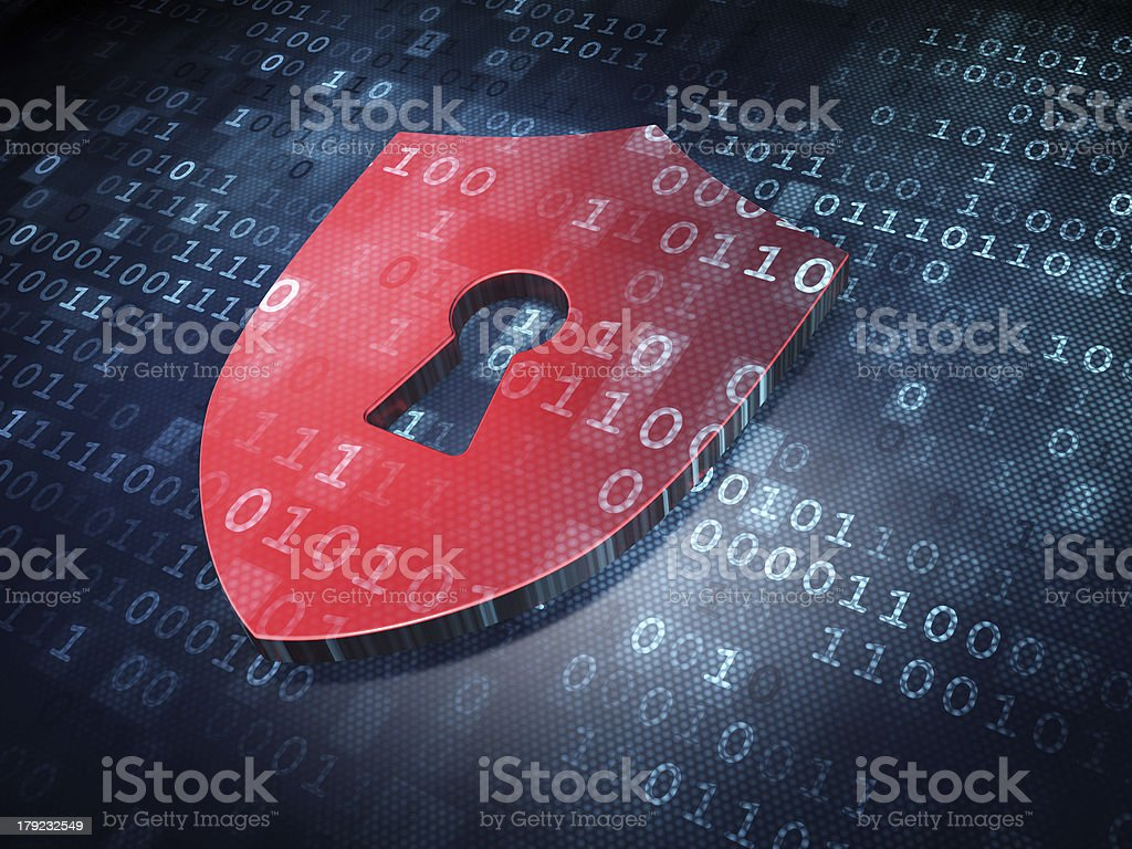 Security concept: Red Shield With Keyhole on digital background stock photo