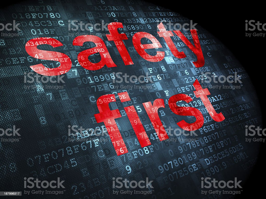 Security concept: safety first on digital background royalty-free stock photo