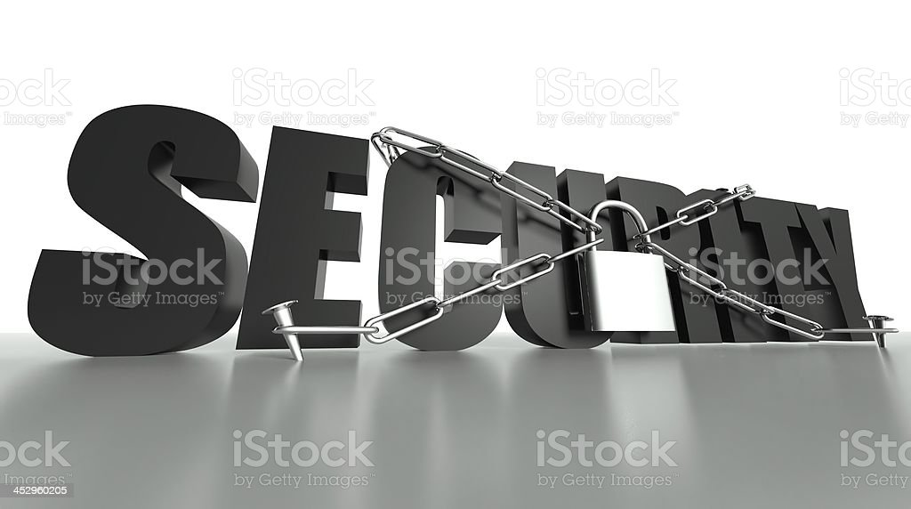 Security concept, safety padlock and chain royalty-free stock photo