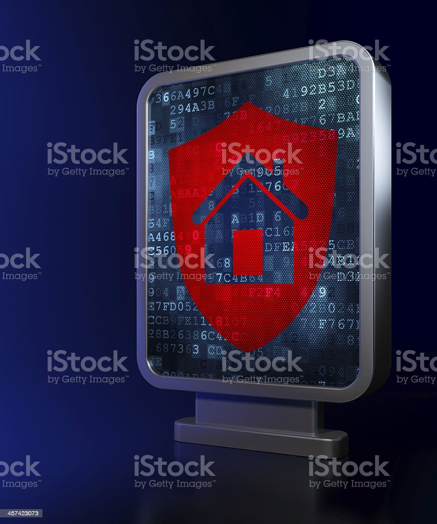 Security concept: Shield on billboard background royalty-free stock photo