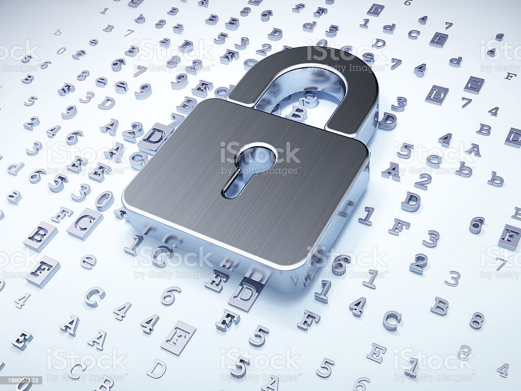 Security concept: silver closed padlock on digital background stock photo