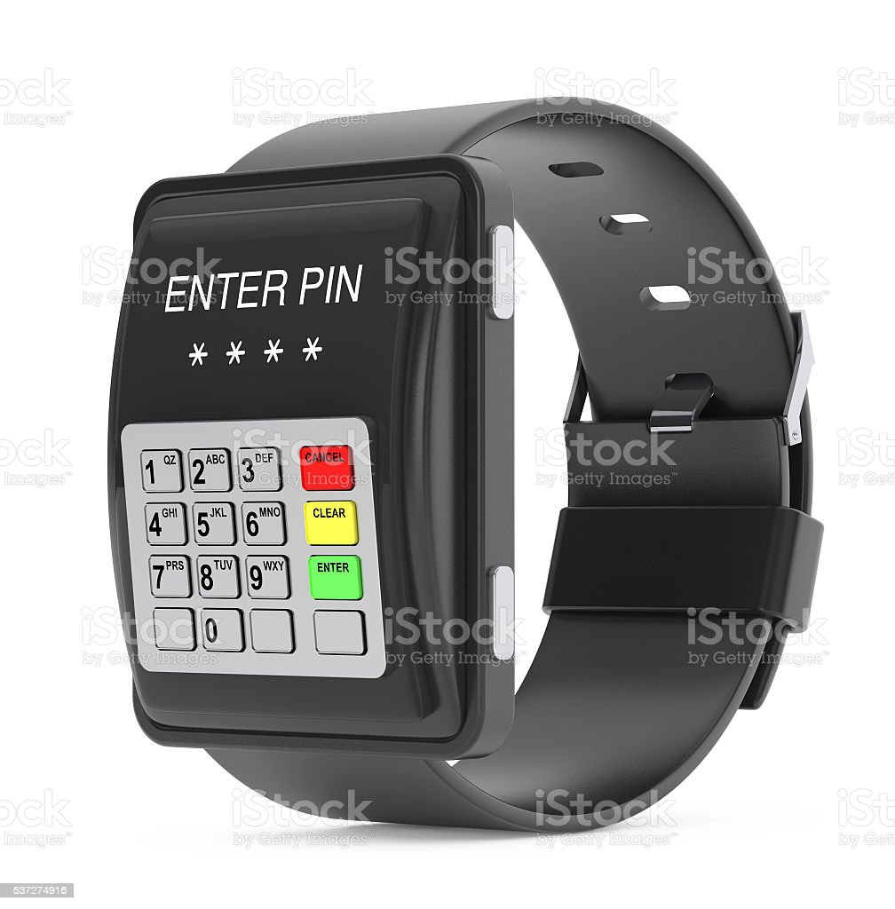 Security Concept. Smartwatch as ATM Keypad. 3d Rendering stock photo