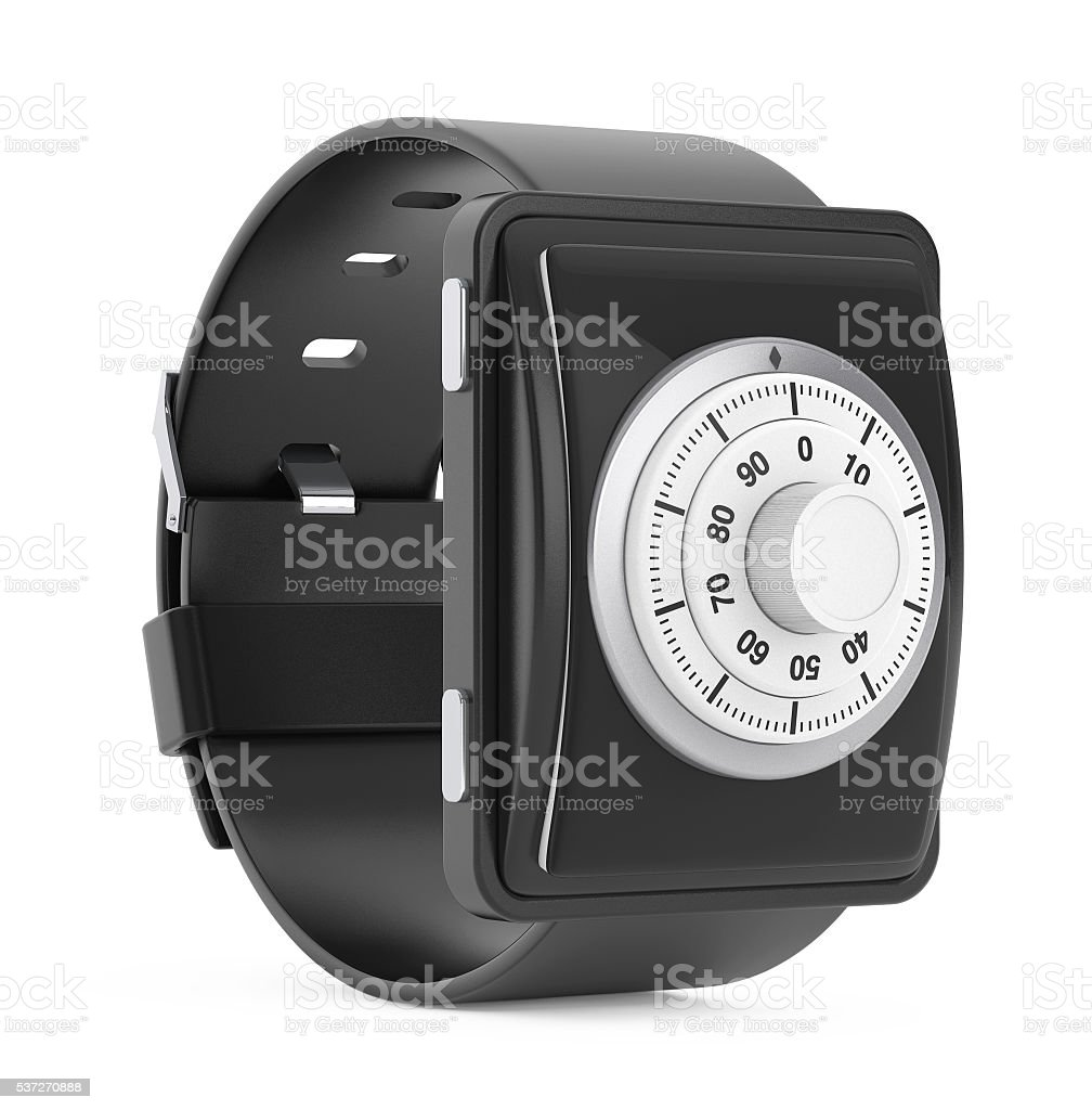 Security Concept. Smartwatch with Code Lock. 3d Rendering stock photo